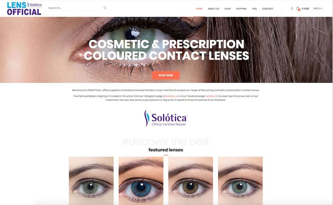 Lens Official - UK Based Official Retailer for Solotica Contact Lenses Wordpress Ecommerce Website