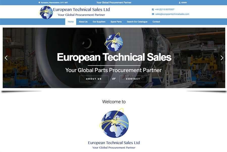 European Technical Sales - Wordpress Website & Parts Catalogue