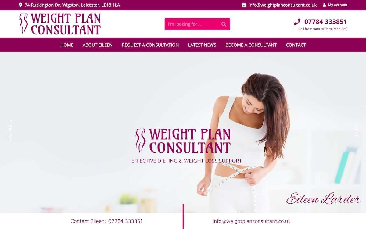 Eileen Larder Independent Weight Plan Consultant Wordpress Website
