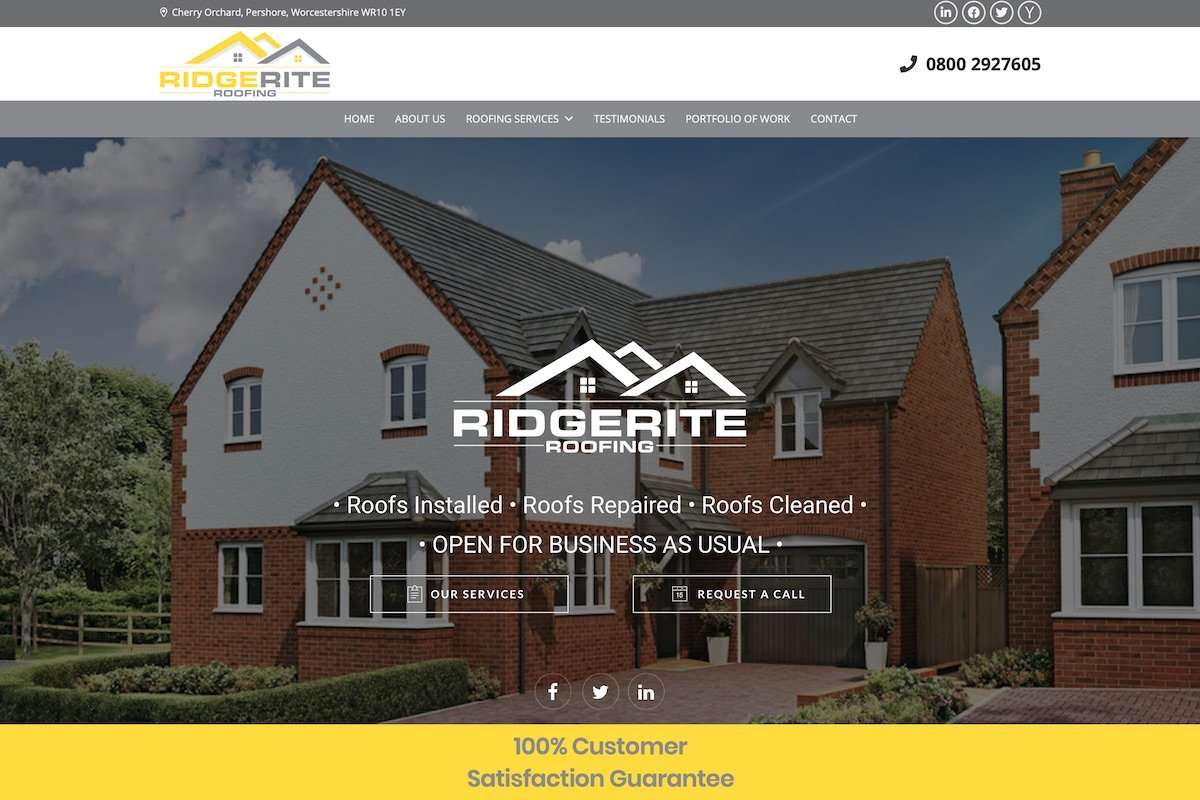 RidgeRite Ltd - Roofing Contractor Wordpress Website