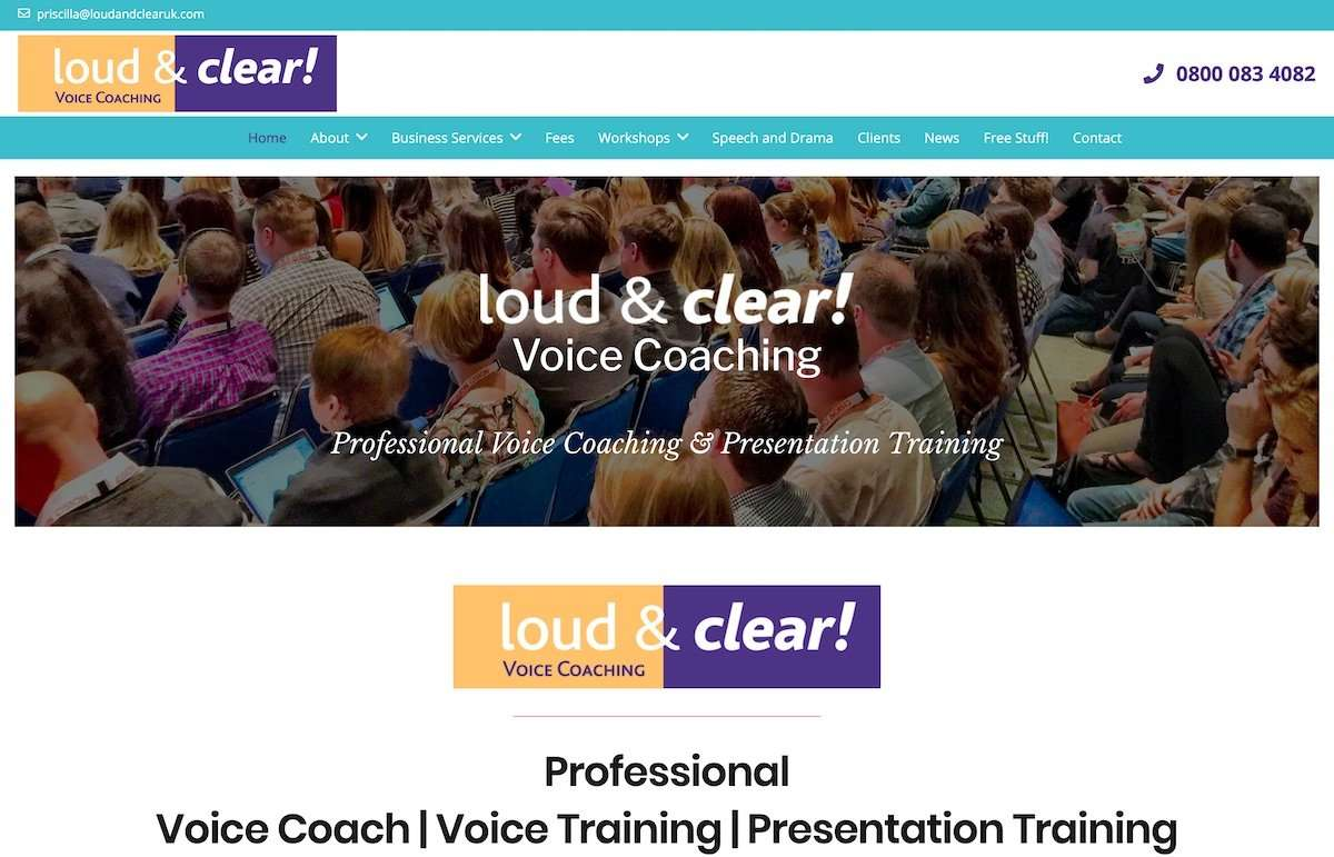 Loud and Clear - Professional Voice Coach - Wordpress Website
