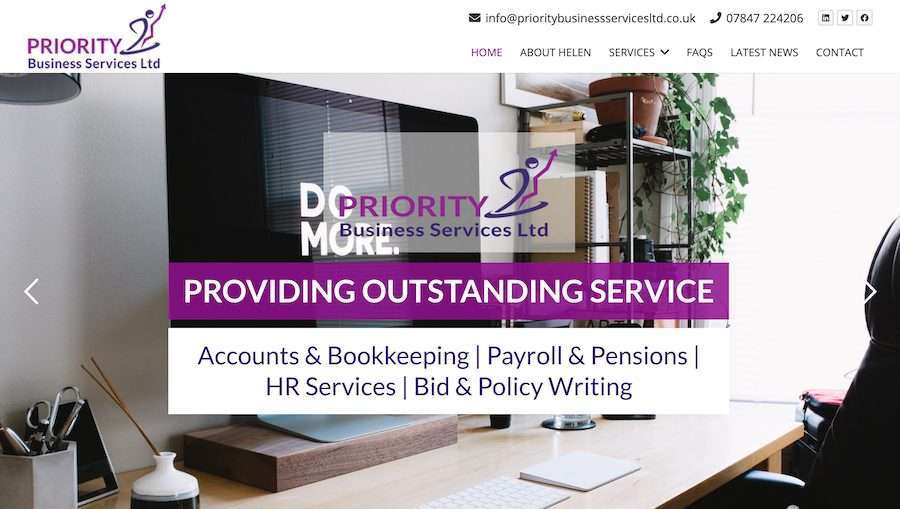 Priority Business Services - Accounts & Bookkeeping Wordpress Website