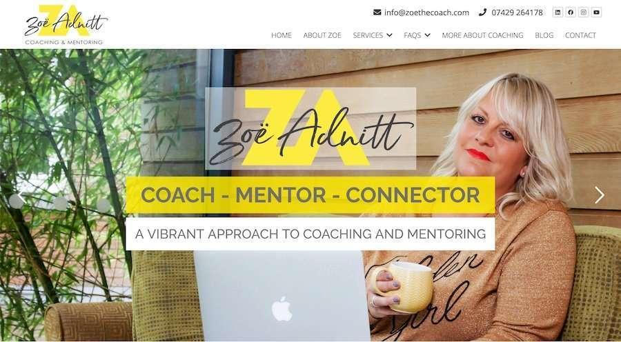 Zoe Adnitt - Coaching & Mentoring Wordpress Website